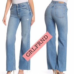GRLFRND distressed wide leg flared jeans